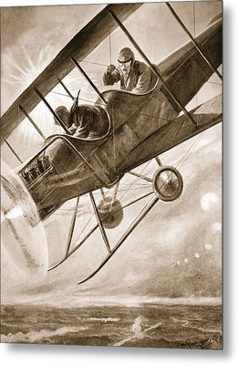 Captain Liddell Piloting His Aeroplane Metal Print