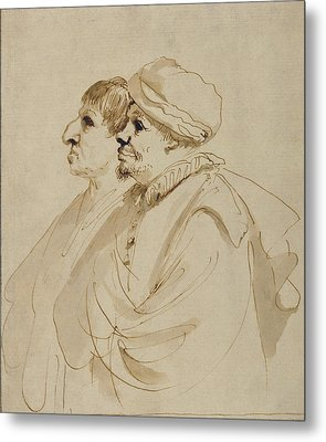 Caricature Of Two Men Seen In Profile Guercino Giovanni Metal Print by Litz Collection
