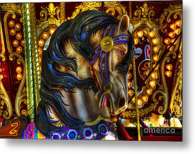 Carousel Beauty Waiting For A Rider Metal Print by Bob Christopher