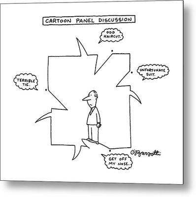 Cartoon Panel Discussion Metal Print