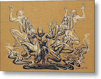 Carved Men Metal Print by Maria Arango Diener