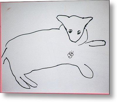 Cat Drawing Metal Print