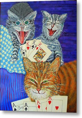 Cat Poker Metal Print