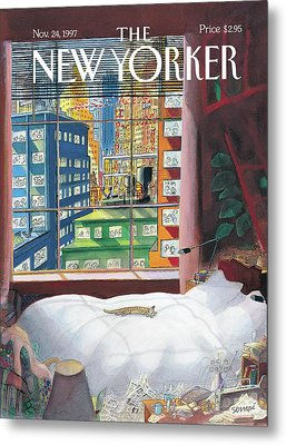 Cat Sleeping By The Window Metal Print
