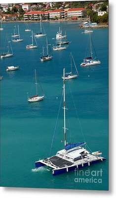 Catamaran  St Thomas Usvi Metal Print by Amy Cicconi