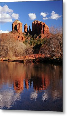 Cathedral Rock And Reflections At Sunset Metal Print by Michel Hersen