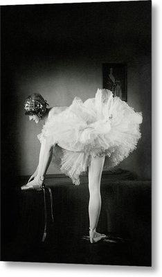 Catherine Crandell Tying Her Ballet Shoes Metal Print