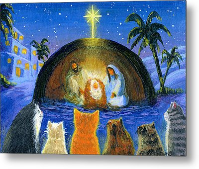 Cats At The Nativity Metal Print by Jacquelin Vanderwood