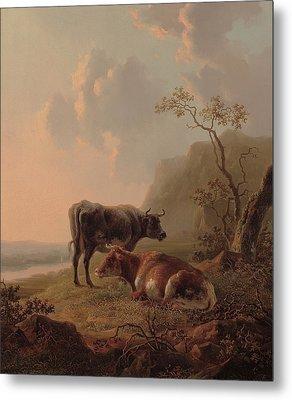 Cattle In An Italianate Landscape Metal Print by Jacob van Strij