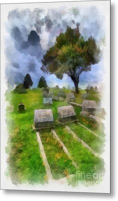 Cemetery Clouds Metal Print by Amy Cicconi