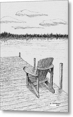 Chair On The Dock Metal Print