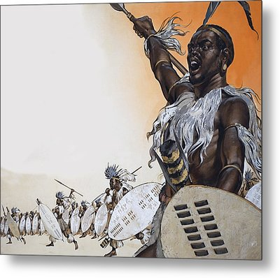 Chaka In Battle At The Head Metal Print by Angus McBride