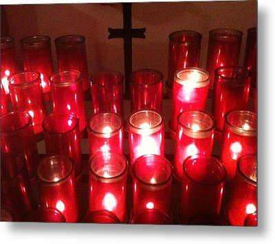 Chapel Candles Metal Print by Tina Nies