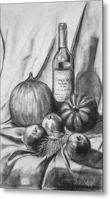 Metal Print featuring the drawing Charcoal Still Life Harvest by Dee Dee  Whittle
