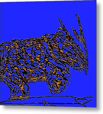 Charging Rhino Metal Print by Jamie ian Smith