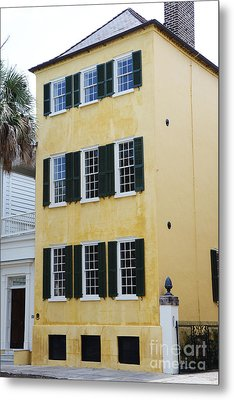Charleston French Quarter Historical District Yellow House With Black Shutters - Historical Building Metal Print