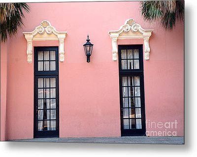 Charleston Coral White Black Architecture - Charleston Historical District - The Mills House Metal Print by Kathy Fornal