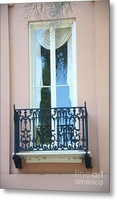 Charleston Pink White Architecture - Charleston Historical District French Quarter Window Balcony Metal Print by Kathy Fornal