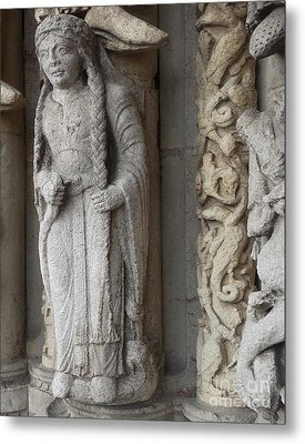 Metal Print featuring the photograph Chartres Cathedral Female Pilgrim by Deborah Smolinske