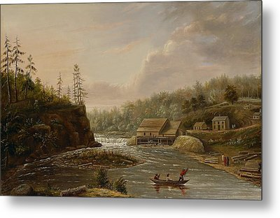 Cheevers Mill On The St. Croix River Metal Print by Henry Lewis