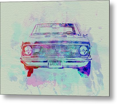 Chevy Camaro Watercolor 2 Metal Print by Naxart Studio