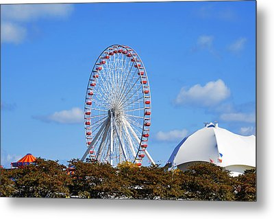Chicago Navy Pier Ferris Wheel Metal Print by Christine Till
