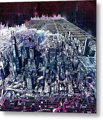 Chicago Skyline Black Verson Metal Print