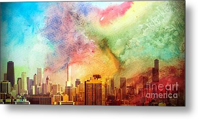 Chicago Skyline Watercolor Sky Metal Print by Linda Matlow