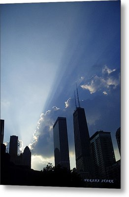 Chicago Sunset Metal Print by Verana Stark