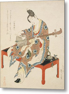 Chinese Beauty Playing The Shamisen Metal Print by Katsushika II Taito
