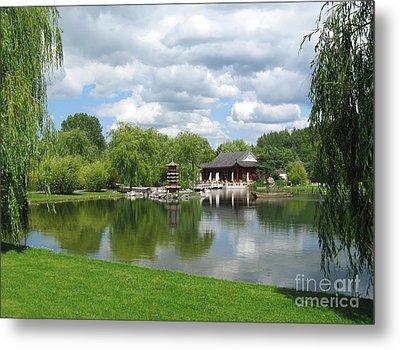 Chinese Tea Pavilion Near The Lake Metal Print by Kiril Stanchev