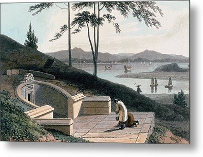 Chinese Tomb With Two Mourners Metal Print by Thomas & William Daniell