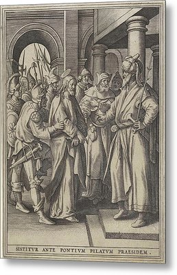 Christ Before Pilate, Hieronymus Wierix, Maerten De Vos Metal Print by Hieronymus Wierix And Maerten De Vos And Hans Van Luyck