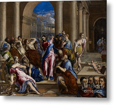 Christ Driving The Money Changers From The Temple Metal Print by El Greco