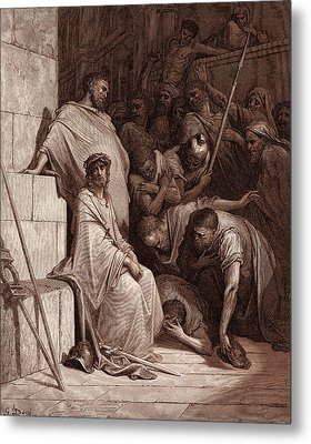 Christ Mocked, By Gustave Dore. Dore, 1832 - 1883 Metal Print by Litz Collection