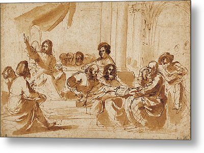 Christ Preaching In The Temple Guercino Giovanni Francesco Metal Print by Litz Collection