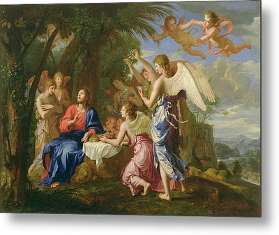 Metal Print featuring the painting Christ Served By The Angels - Jacques Stella - 1656 by Jacques Stella
