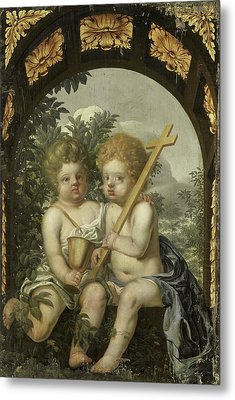 Christian Allegory With Two Children With Cross And Chalice Metal Print by Litz Collection