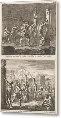 Christians Are Flogged In A Cell And Christians Are Flogged Metal Print by Jan Luyken And Jacobus Van Hardenberg And Barent Visscher