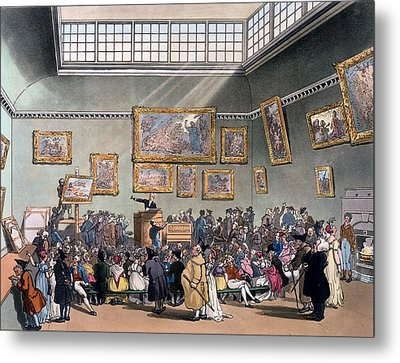 Christies Auction Room, Illustration Metal Print by T. & Pugin, A.C. Rowlandson