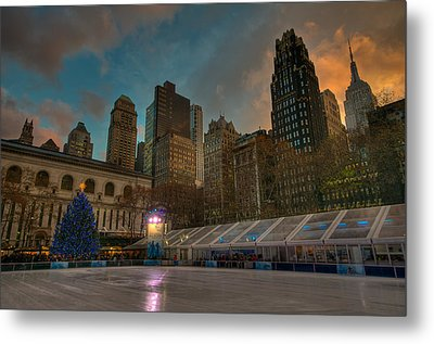 Christmas In Bryant Park Metal Print by Mike Horvath