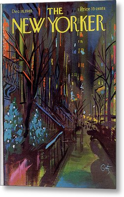 Christmas In New York Metal Print by Arthur Getz