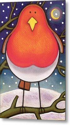 Christmas Robin Metal Print by Cathy Baxter