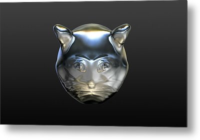 Chrome Cat Metal Print by Stacy C Bottoms