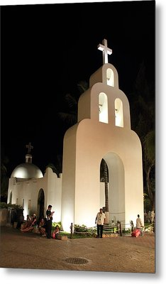 Church At Night In Playa Del Carmen Metal Print by Roupen  Baker