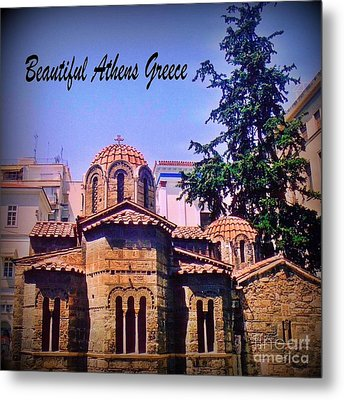 Church In Beautiful Athens Metal Print by John Malone