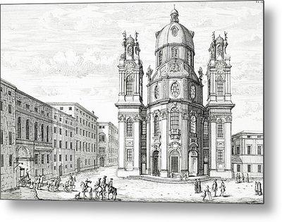 Church Of Notre Dame, Salzburg Metal Print by Johann Bernhard Fischer von Erlach