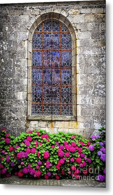 Church Window In Brittany Metal Print by Elena Elisseeva