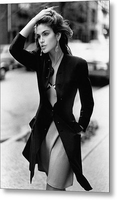 Cindy Crawford Wearing A Wool Coat Over A Slip Metal Print