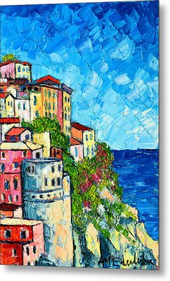 Cinque Terre Italy Manarola Painting Detail 3 Metal Print by Ana Maria Edulescu